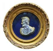 FRAMED 1865 LINCOLN PROFILE BUST, J. POWELL PATENT