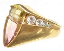 LADIES ESTATE 14KT GOLD TOURMALINE  DIAMOND RING