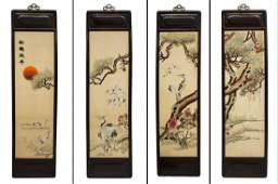 4 CHINESE SILK EMBROIDERIES SONG HE YAN NIAN