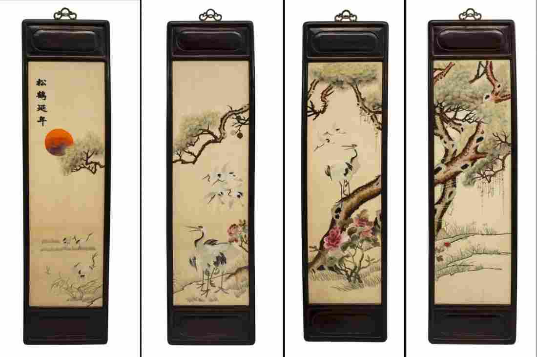 """(4) CHINESE SILK EMBROIDERIES """"SONG HE YAN NIAN"""""""