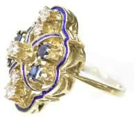 LADIES ESTATE 14KT GOLD DIAMOND  SAPPHIRE RING