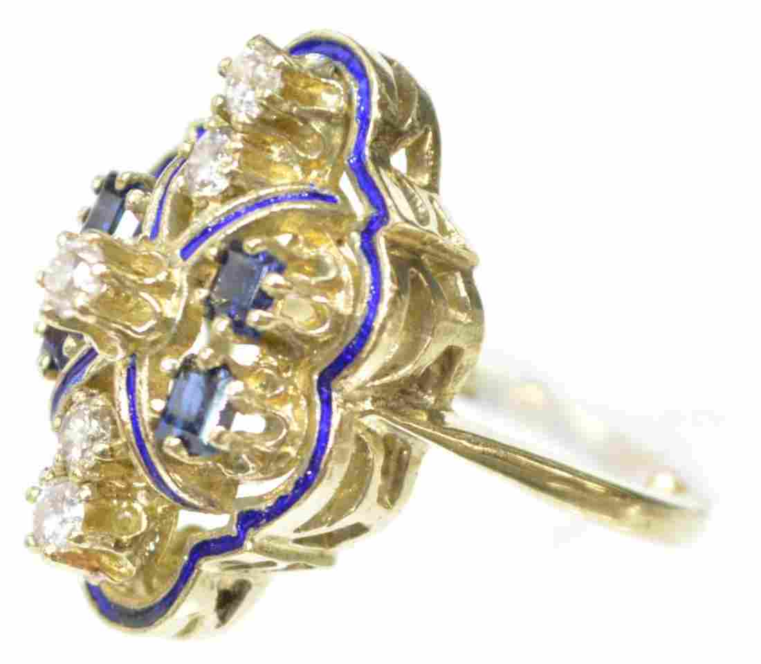LADIES ESTATE 14KT GOLD DIAMOND & SAPPHIRE RING