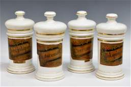 4 ANTIQUE SPAIN LIDDED PORCELAIN APOTHECARY JARS