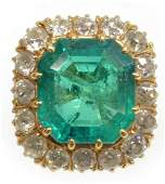ESTATE 1435CT GIA COLOMBIAN EMERALD DIAMOND RING