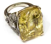 ESTATE GIA 50CT YELLOW SAPPHIRE  DIAMOND RING