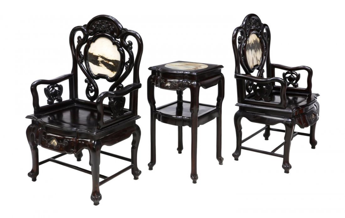 (3) CHINESE HARDWOOD INLAID MARBLE SALON SUITE