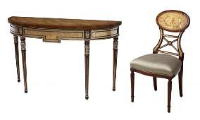THEODORE ALEXANDER DEMILUNE CONSOLE TABLE & CHAIR