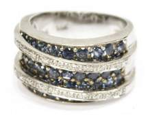 LADIES 14K LEVIAN DIAMOND & SAPPHIRE COCKTAIL RING