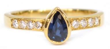 LADIES CARTIER 18KT GOLD DIAMOND & SAPPHIRE RING