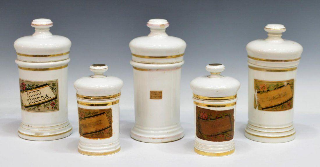 (5) ANTIQUE SPAIN LIDDED PORCELAIN APOTHECARY JARS