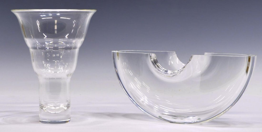 (2) STEUBEN COLORLESS ART GLASS VASE & BOWL