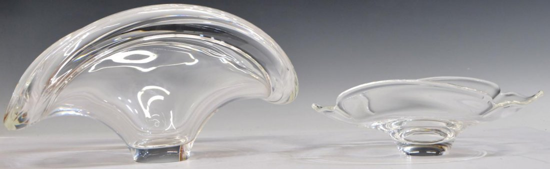 (2) LARGE STEUBEN COLORLESS ART CRYSTAL BOWLS