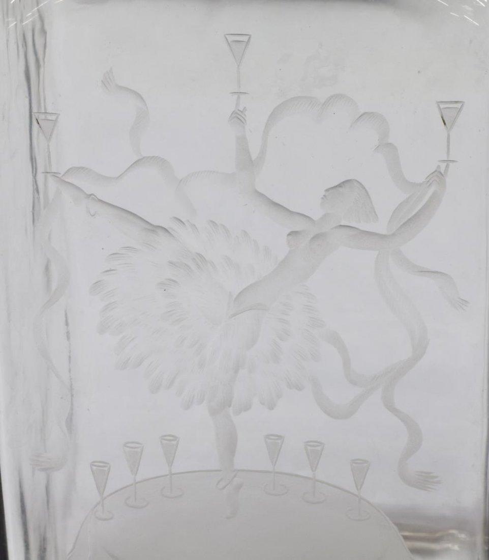 SIMON GATE ORREFORS ENGRAVED GLASS DECANTER BOTTLE - 4