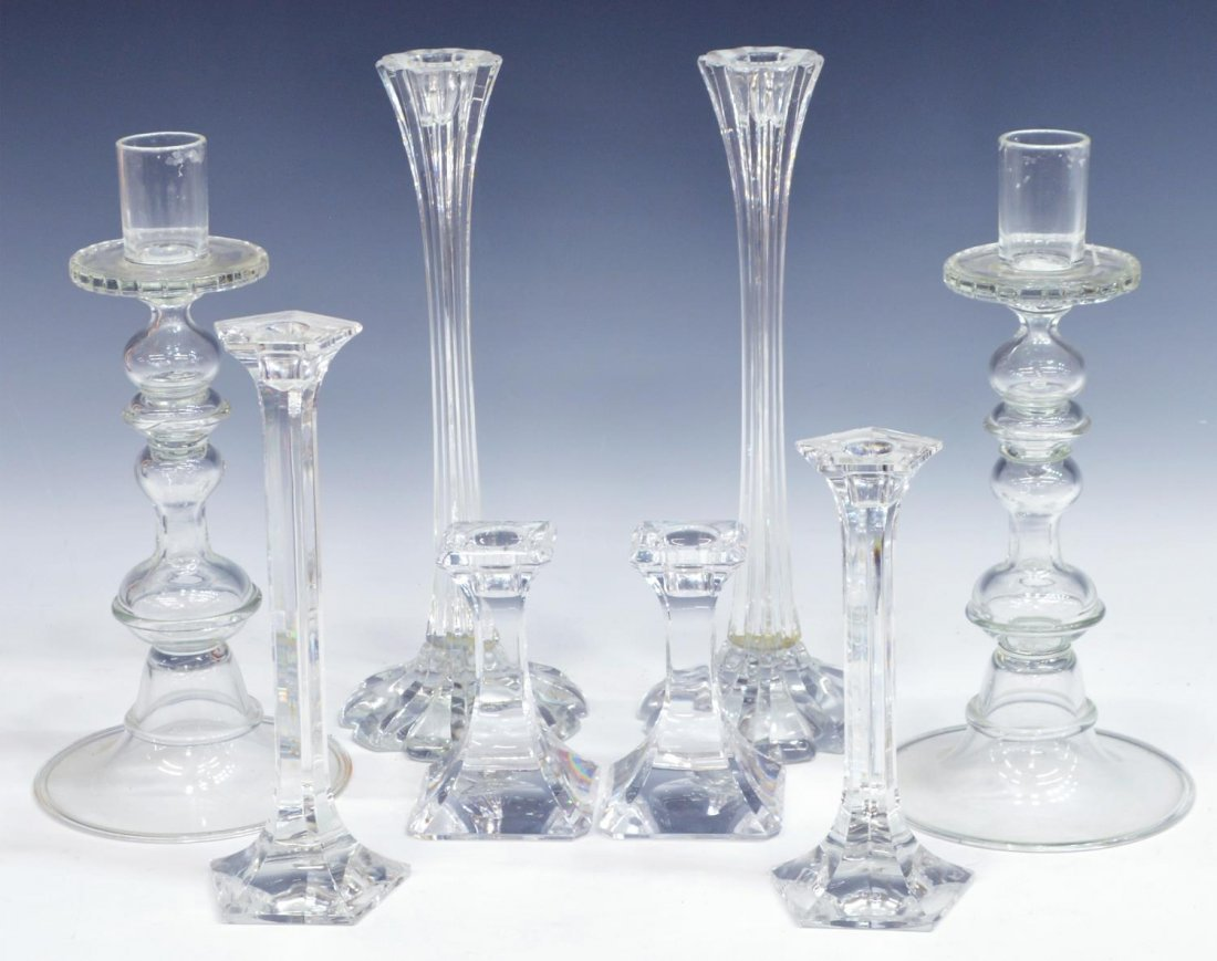 (8) ORREFORS & OTHER CRYSTAL CANDLE HOLDERS