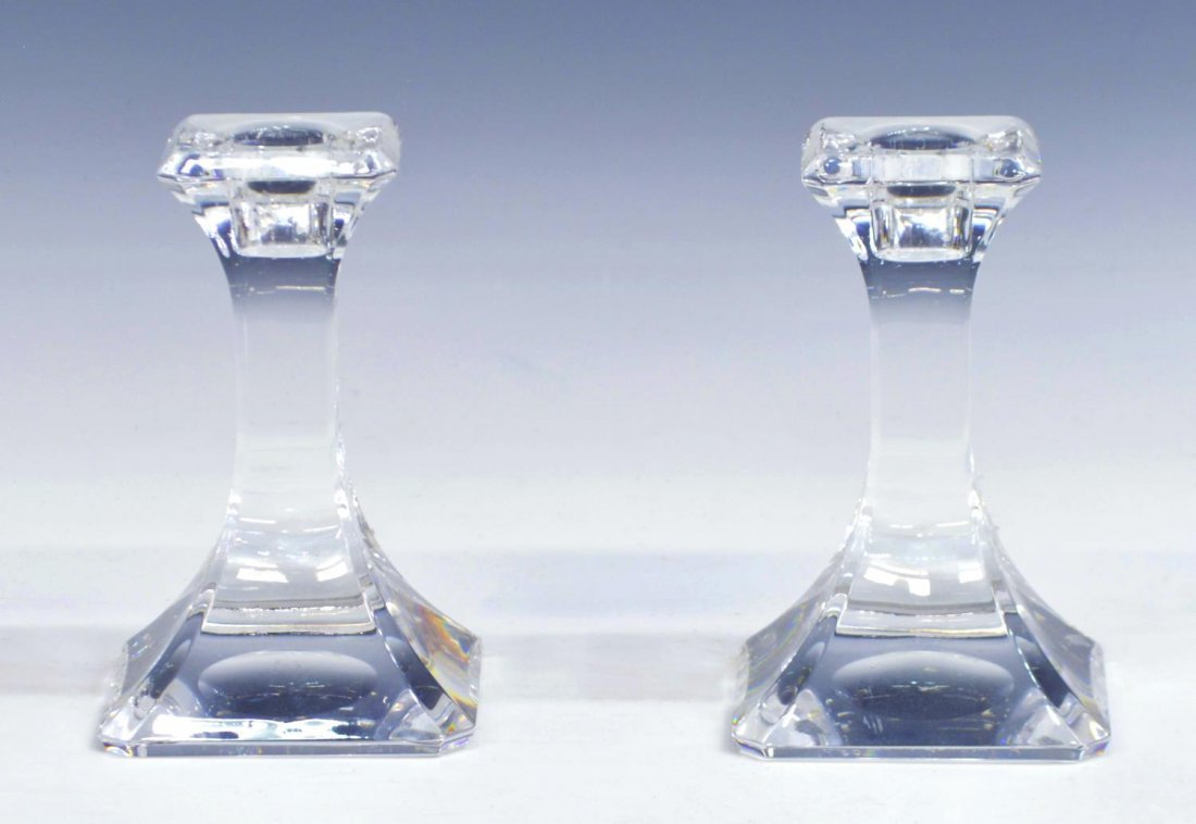 (8) ORREFORS & OTHER CRYSTAL CANDLE HOLDERS - 2