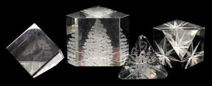 4 STEUBEN ART CRYSTAL PRISM PAPERWEIGHTS