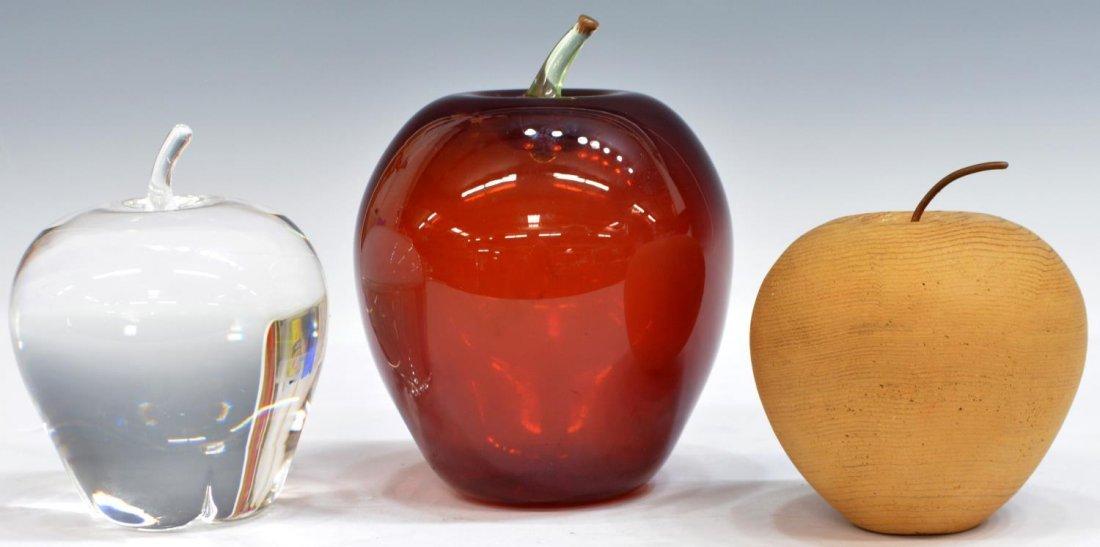 (3) STEUBEN ART CRYSTAL, RED & CARVED WOOD APPLES