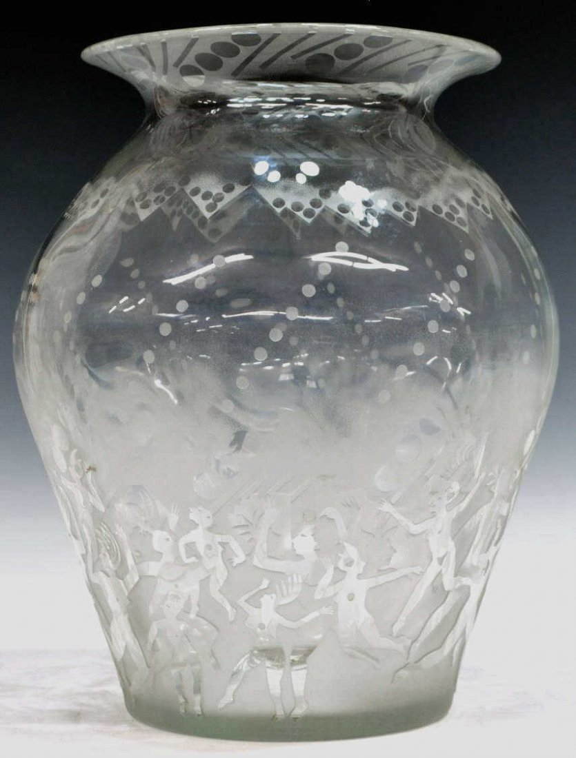 LARGE PATRICK WADLEY (1950-1992) ART GLASS VASE