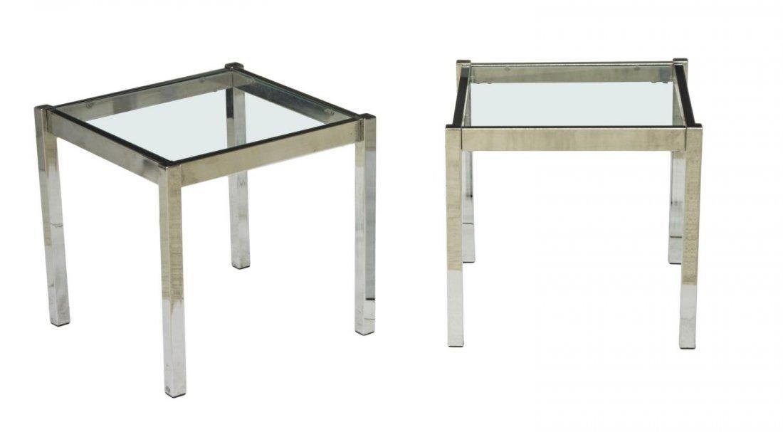 (2) MODERN BAUGHMAN CHROME & GLASS SIDE TABLES