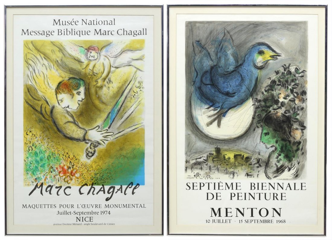 (2) FRAMED MARC CHAGALL ART EXHIBITION POSTERS