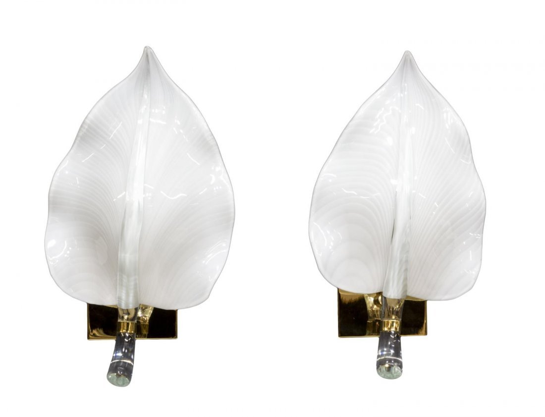 (2) LEAF FORM ART GLASS & BRASS WALL SCONCES