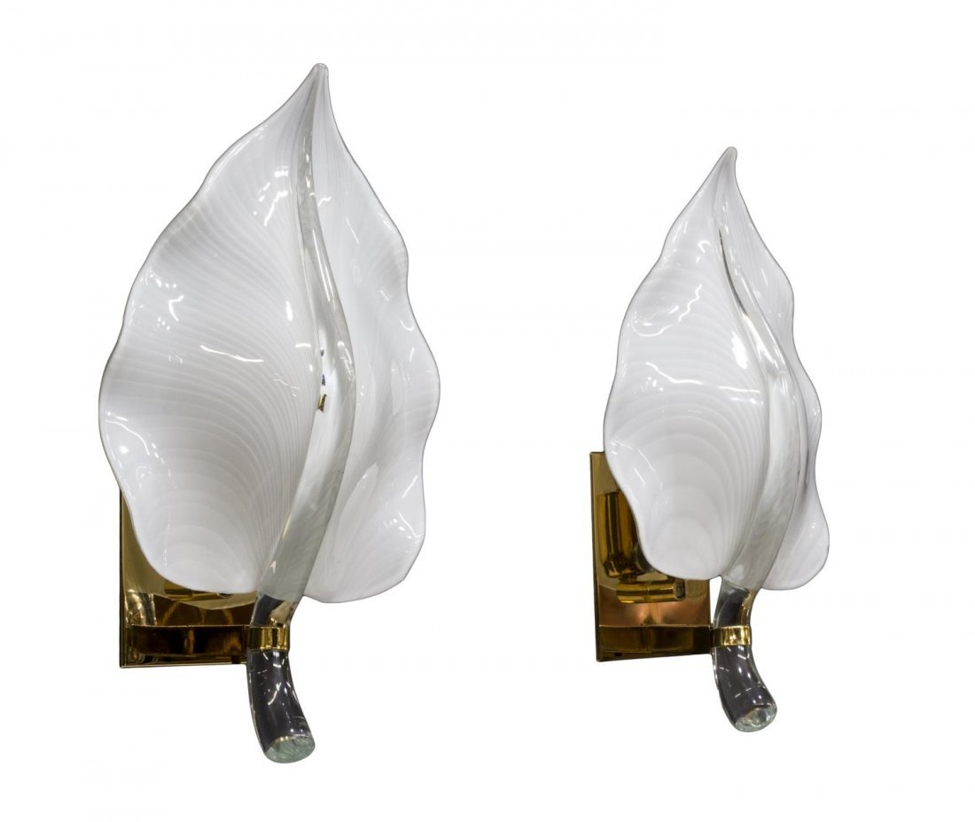 (2) LEAF FORM ART GLASS & BRASS WALL SCONCES - 4