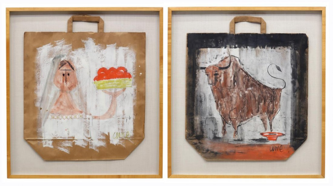 (2) FRAMED PAINTED PAPER BAGS, OUTSIDER ART STYLE