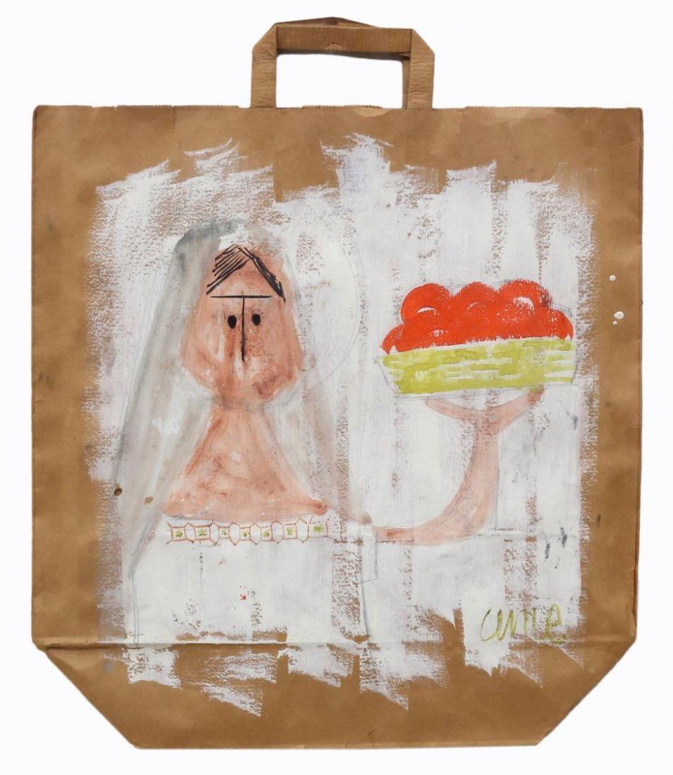 (2) FRAMED PAINTED PAPER BAGS, OUTSIDER ART STYLE - 2