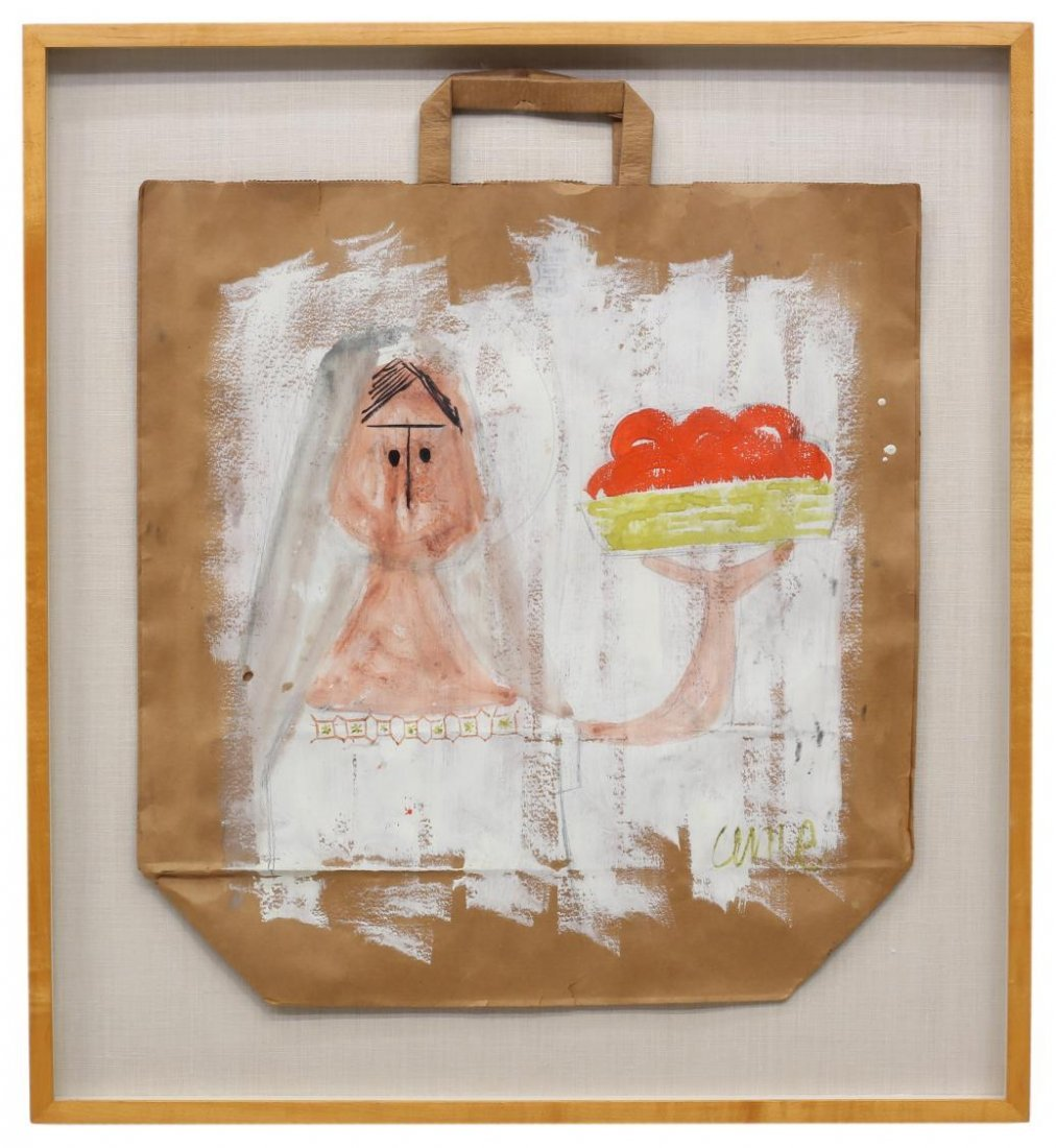 (2) FRAMED PAINTED PAPER BAGS, OUTSIDER ART STYLE - 3