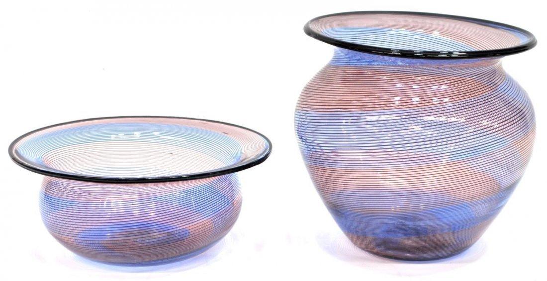 BAROVIER & TOSO MURANO ART GLASS VASE & BOWL