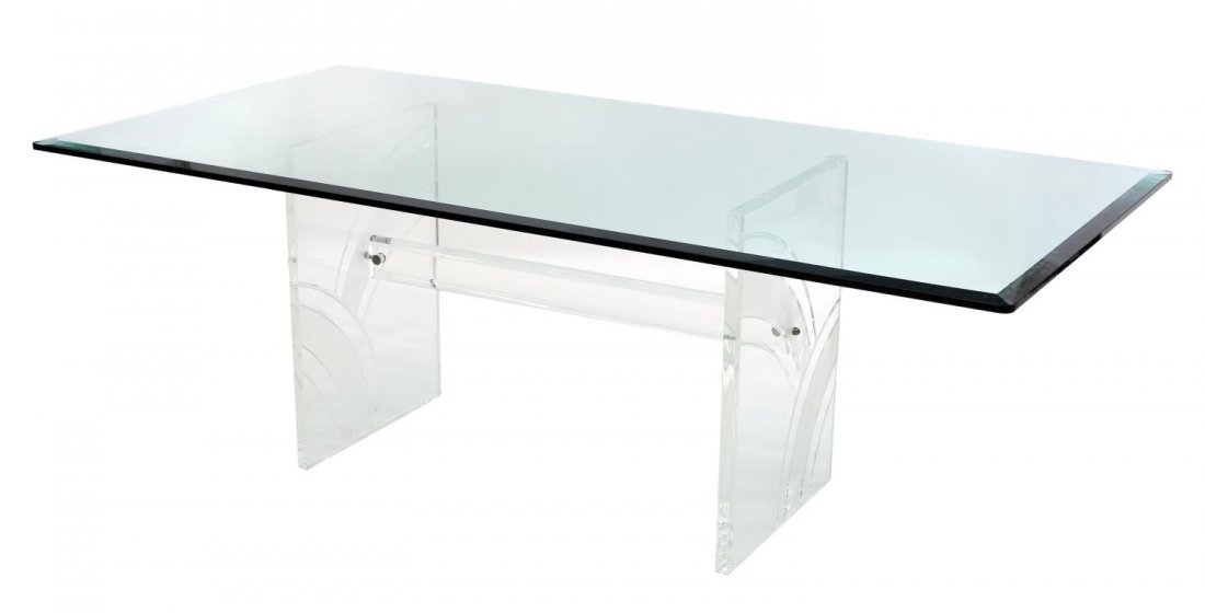 GLASS TOP DINING TABLE ON ETCHED LUCITE SUPPORT