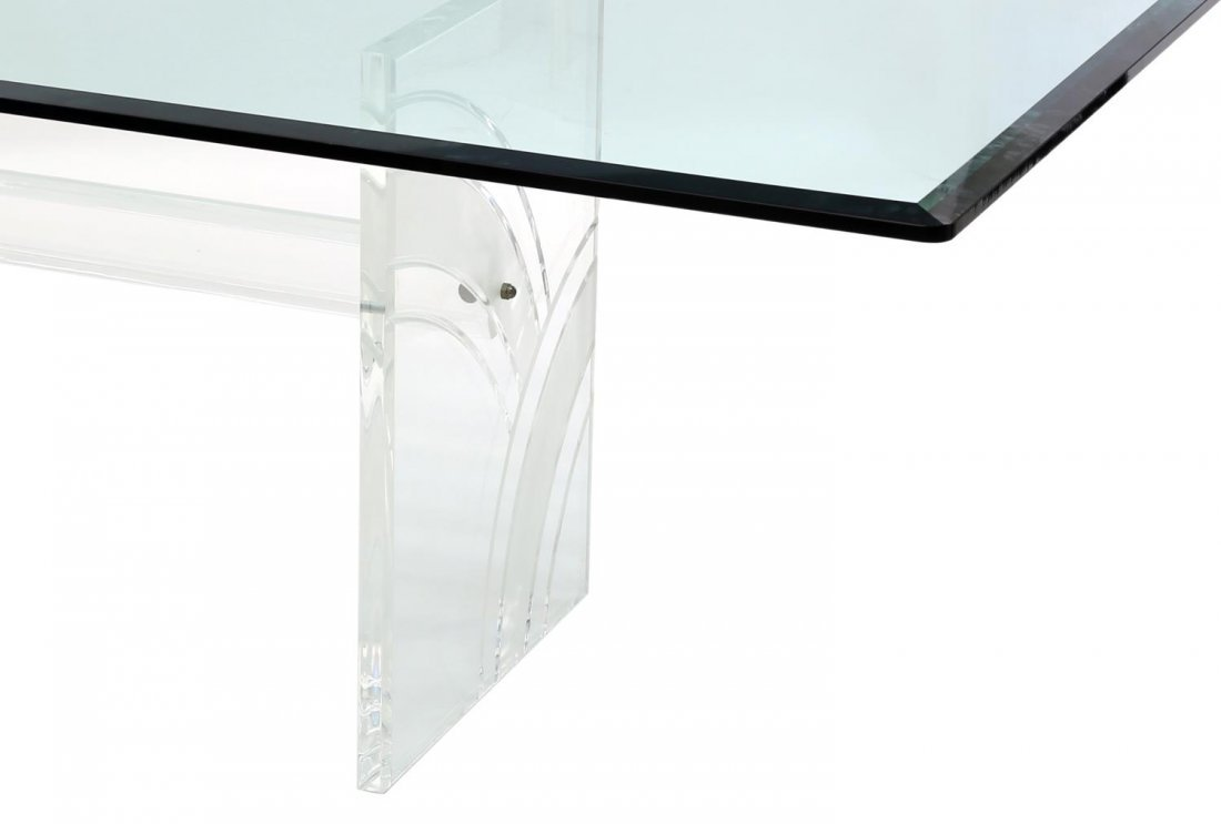 GLASS TOP DINING TABLE ON ETCHED LUCITE SUPPORT - 2