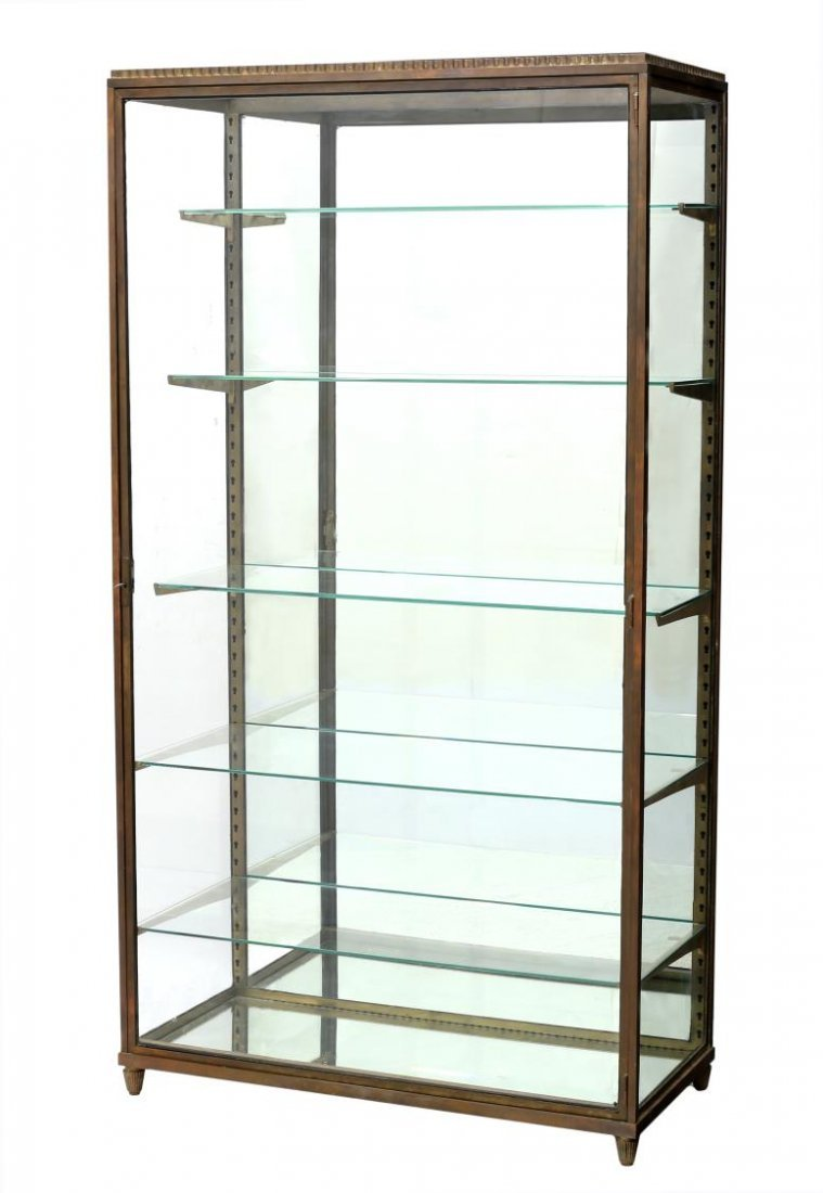 FRENCH REGENCY STYLE BRASS & GLASS DISPLAY CABINET