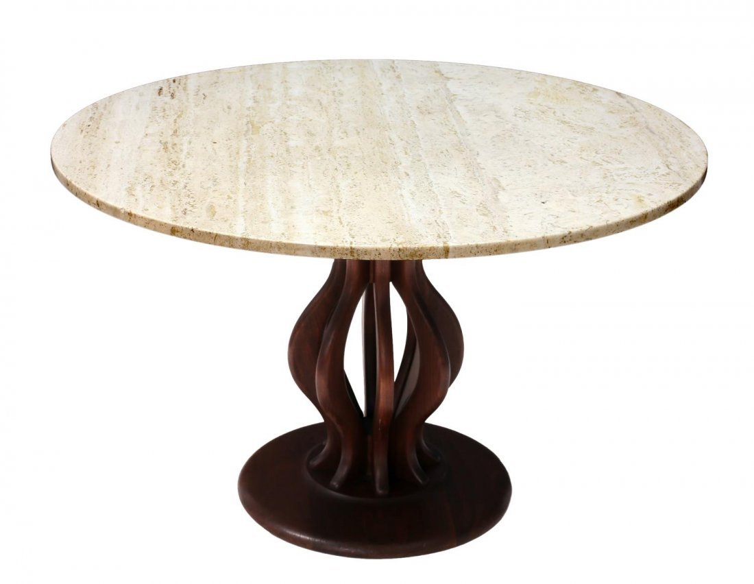 BROWN & SALTMAN TRAVERTINE & WALNUT CENTER TABLE