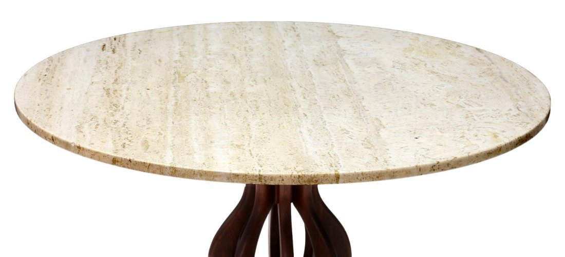 BROWN & SALTMAN TRAVERTINE & WALNUT CENTER TABLE - 2