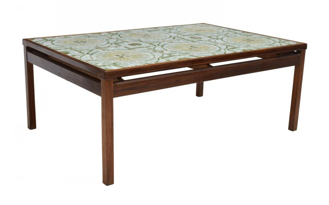 DANISH MID-CENTURY MODERN TILE TOP COFFEE TABLE