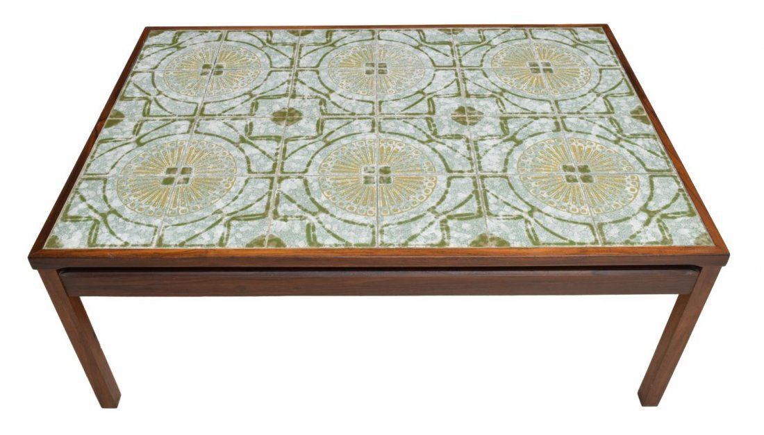 DANISH MID-CENTURY MODERN TILE TOP COFFEE TABLE - 2