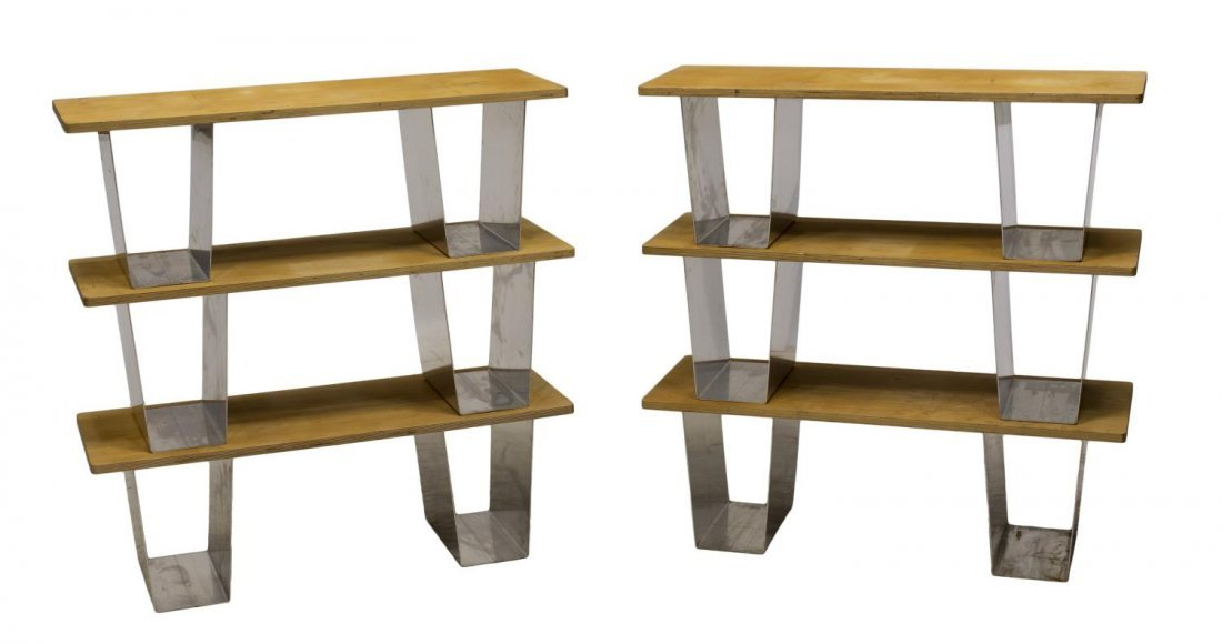 (6) BIRCH PLYWOOD & METAL STACKABLE BOOKSHELVES