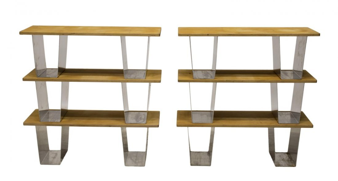 (6) BIRCH PLYWOOD & METAL STACKABLE BOOKSHELVES - 2