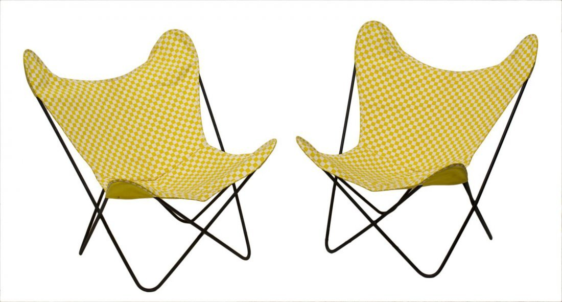 (PAIR) MID-CENTURY MODERN IRON BUTTERFLY CHAIRS