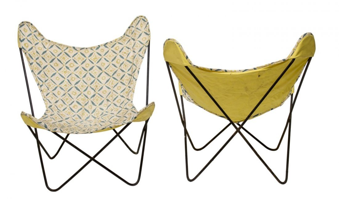 (PAIR) MID-CENTURY MODERN IRON BUTTERFLY CHAIRS - 2