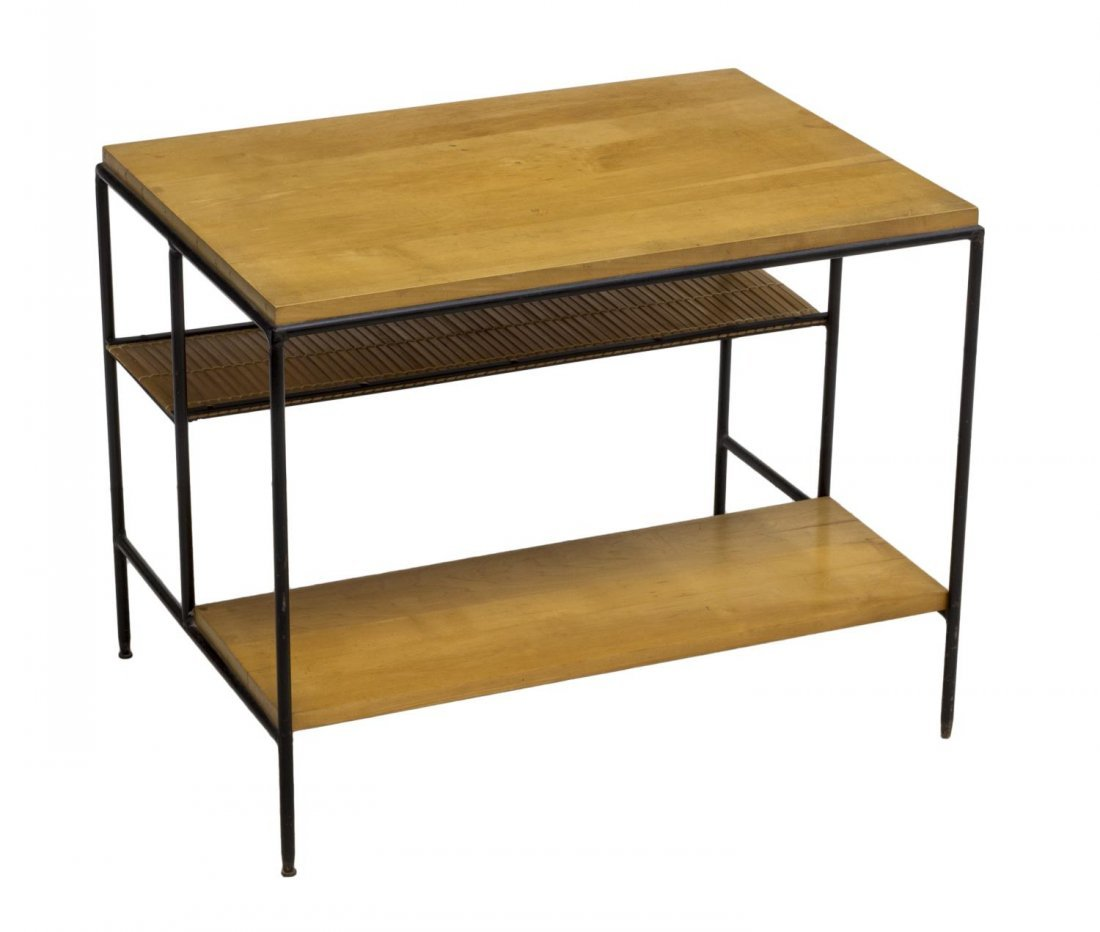 PAUL MCCOBB WOODEN & IRON SIDE TABLE, C. 1960