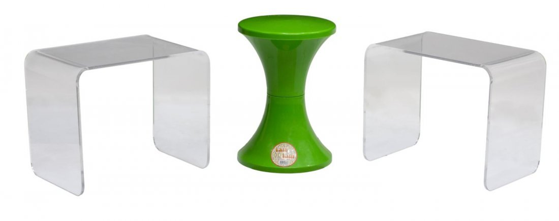 (3) CONTEMPORARY SIDE TABLES, TAM-TAM & ACRYLIC
