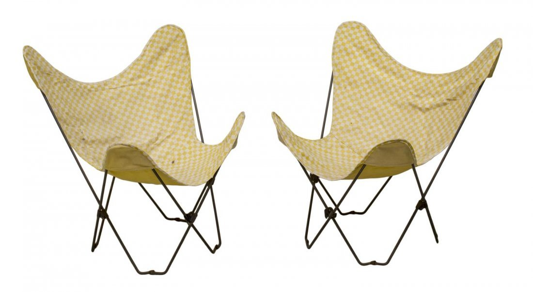 (PAIR) MID-CENTURY MODERN STEEL BUTTERFLY CHAIRS