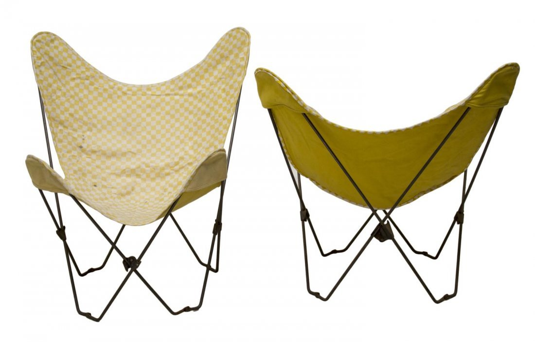 (PAIR) MID-CENTURY MODERN STEEL BUTTERFLY CHAIRS - 2