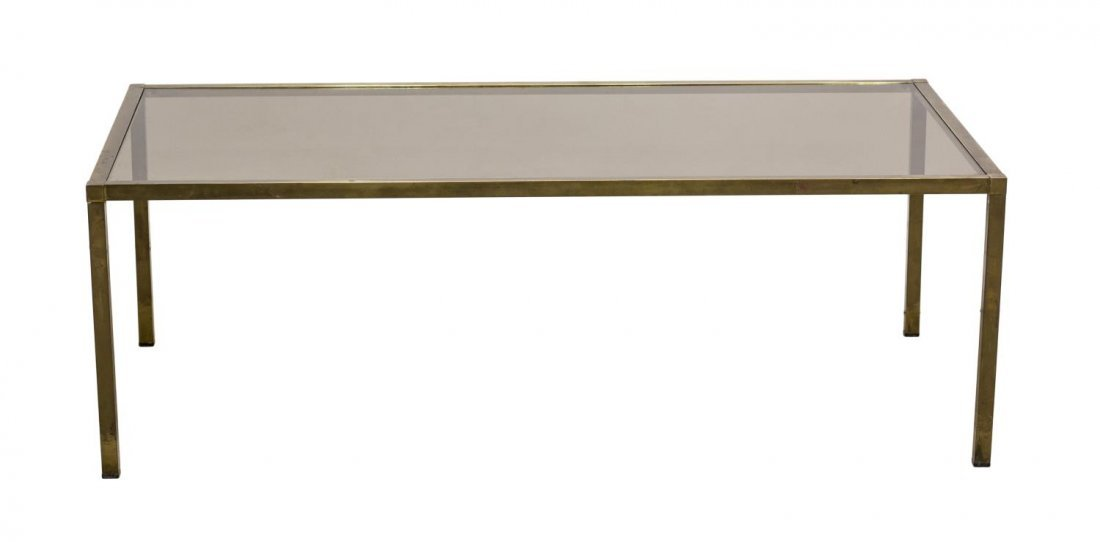 ITALIAN MODERN BRASS & TINTED GLASS COFFEE TABLE
