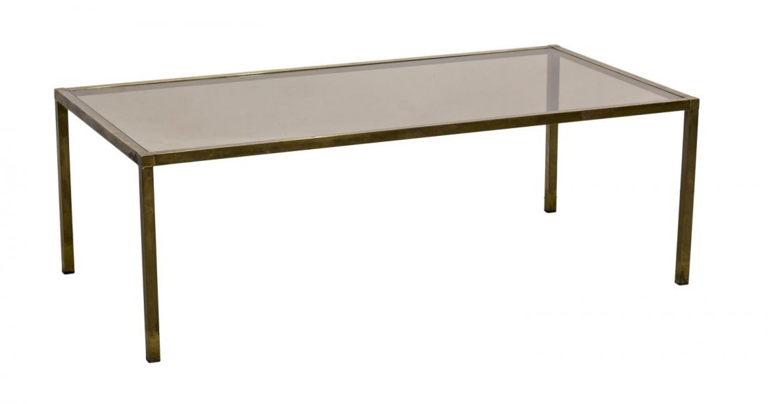 ITALIAN MODERN BRASS & TINTED GLASS COFFEE TABLE - 2
