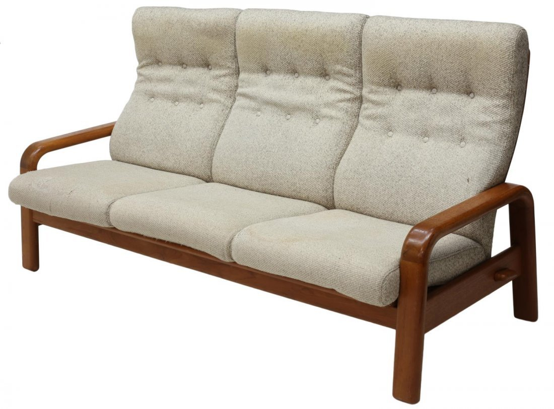 DANISH MID-CENTURY MODERN OPEN ARM 3-SEAT SOFA