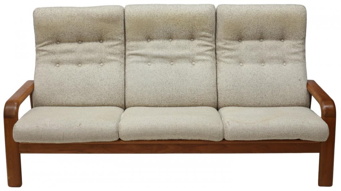 DANISH MID-CENTURY MODERN OPEN ARM 3-SEAT SOFA - 2