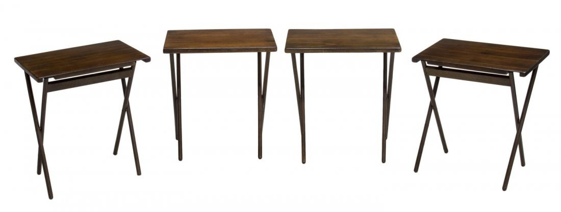 (4) CONTEMPORARY FOLDING SIDE TABLES TV TRAYS